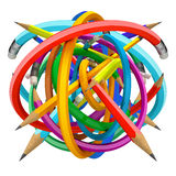 Crayons ball. Color pencil caught in a tangle, on a white background, 3d render
