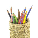 Crayons in basket. Pencil box Royalty Free Stock Photo