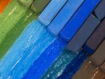 Crayons bleus et bruns Image stock