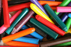 Crayons in a Box. Various colored crayons stock photos