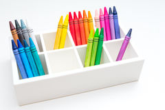 Crayons. A box of crayons for preschool and kindergarten children Royalty Free Stock Image