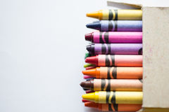 Crayons in box Royalty Free Stock Photos