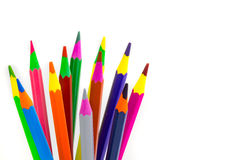 Crayons. A bunch of crayons for the use of children and adults stock photos