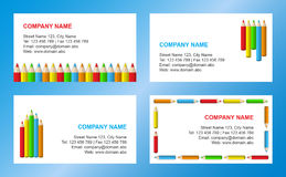 Crayons business card template vector illustration