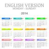 2014 crayons calendar english version mon � sun. Colorful monday to sunday 2014 calendar with crayons english version illustration Stock Photo