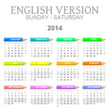 2014 crayons calendar english version sun � sat Stock Photos
