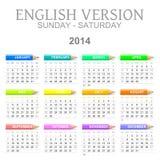 2014 crayons calendar english version sun � sat Stock Photos