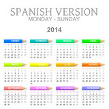 2014 crayons calendar spanish version. Colorful monday to sunday 2014 calendar with crayons spanish version illustration Royalty Free Stock Image