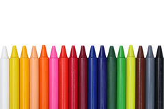 Crayons for children in a row with copyspace Stock Photography