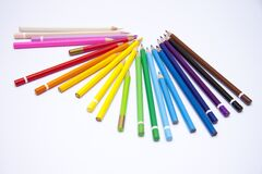 Crayons, Children, To Draw, Screen Stock Images