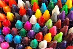 Crayons close up background Stock Images