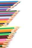 Crayons colorés d'isolement sur le blanc Images libres de droits