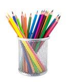 Crayons colorés dans le pot Photo stock