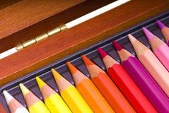 Crayons colorés dans un cadre Photos libres de droits