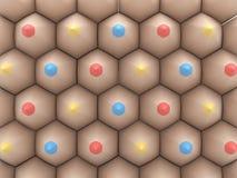 Crayons colorés de bleu et de jaune rouges disposés dans le modèle sur le wh Photographie stock libre de droits