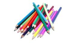 Crayons colorés de crayon sur le blanc d'isolement Photos stock