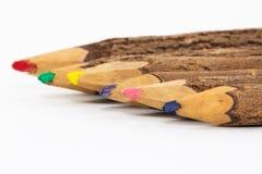 Crayons colorés en bois Photographie stock