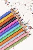 Crayons colorés heureux Photo libre de droits
