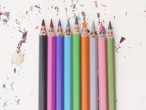 Crayons colorés heureux Photographie stock libre de droits