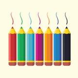 Crayons colorés par appartement réglés Statione créatif de vecteur Photographie stock libre de droits