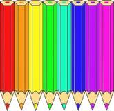 Crayons colorés s'étendant dans une illustration de spectre Photographie stock libre de droits