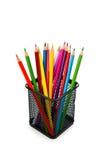 Crayons colorés sur le blanc Photos libres de droits