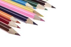 Crayons colorés sur le blanc Images stock