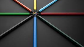Crayons colorés, sur le noir Images libres de droits