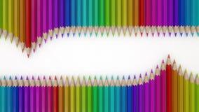 Crayons colorés sur un rendu du livre blanc 3D Photos libres de droits