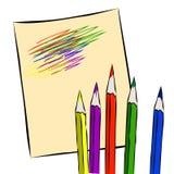 Crayons colorés sur une feuille de papier illustration de vecteur