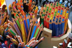 Crayons in color. Crayons upright in store Stock Photo