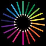 Crayons Color Range. Color range of school crayons on black background / Vector stock illustration