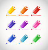 Crayons with color traces Stock Photo