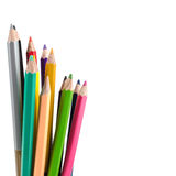Crayons. Colored Pencils. colored pencils on white background an Royalty Free Stock Images