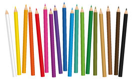 Crayons Colored Pencils. Crayons - colored pencil set loosely arranged - vector on white background royalty free illustration
