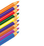Crayons, colored pencils set on wight background, vector illustration with empty space for text Stock Photo