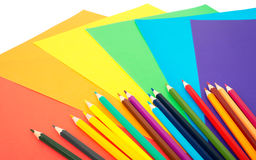 Crayons with colorful paper Royalty Free Stock Photo