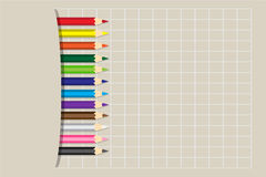 Crayons colorés par illustration de vecteur Images stock