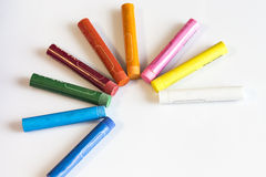 Crayons concept on white  background Royalty Free Stock Images