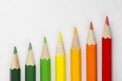 Crayons conceptuels en tant que couleurs de label d'énergie Photo libre de droits