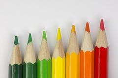 Crayons conceptuels en tant que couleurs de label d'énergie Images libres de droits
