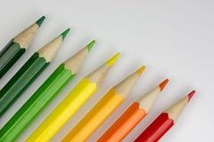 Crayons conceptuels en tant que couleurs de label d'énergie Image stock