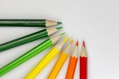 Crayons conceptuels en tant que couleurs de label d'énergie Photo stock