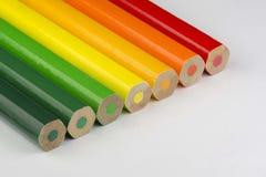 Crayons conceptuels en tant que couleurs de label d'énergie Photos stock