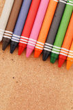 Crayons On Cork Stock Photos