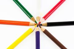 crayons d'isolement d'idées originales de fond blancs Photographie stock libre de droits