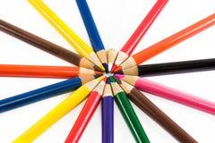 crayons d'isolement d'idées originales de fond blancs Images libres de droits