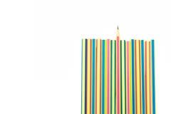 crayons d'isolement d'idées originales de fond blancs Fin vers le haut Image stock