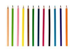 crayons d'isolement par couleur Images stock