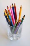 Crayons dans une glace Images libres de droits
